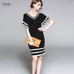 di prim'ordine prezzo ragionevole di prim'ordine Dettagli su Elegante vestito abito corto tubino bianco nero lungo slim  morbido 4367