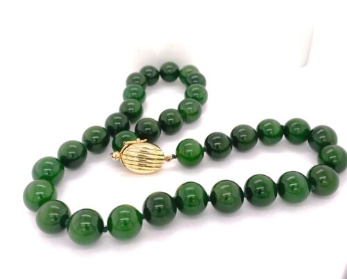 Gump's Superb Natural Color Green Jade 14K Gold Ne