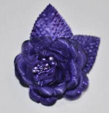 "SMALL 2.5"" Purple Satin Rose Silk Flower Hair Clip Wedding Bridesmaid"