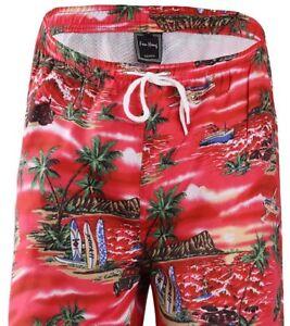 f75bfe6ca8 NEW Men's Swim Trunks Bathing Suit Swimsuit Hawaiian Print Red S M L ...