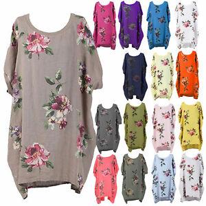 Ladies-Italian-Floral-Linen-Baggy-Top-Tunic-Women-Summer-Lagenlook-Top-Plus-Size