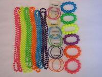 Neon UV Bead Necklace Bracelet Hoop Earrings Set 1980's Fancy Dress Retro Party