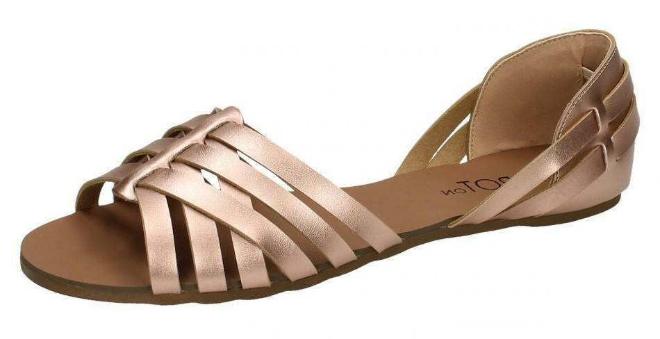 Spot Gold On F00051 Ladies Rose Gold Spot Strappy Weave Sandals UK3-8 (R27B) 0f45f8