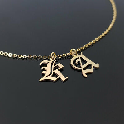 Gift for Women Handmade Initial Necklace Old English Letter Necklace Best Friends Gift Old English Double Letters Necklace Gift for Men