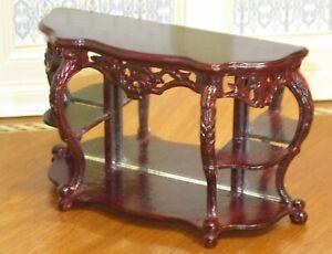 Fantastic Mirrored Display Console Table (Dark Wood) Dollhouse Miniature