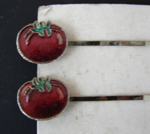 1960/'s Pair of Red Tomato Bobby Pins Vintage Hair Barrettes