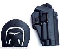 Black P226 Style Pistol Gun Retention Holster Button Release Belt Paddle Holder