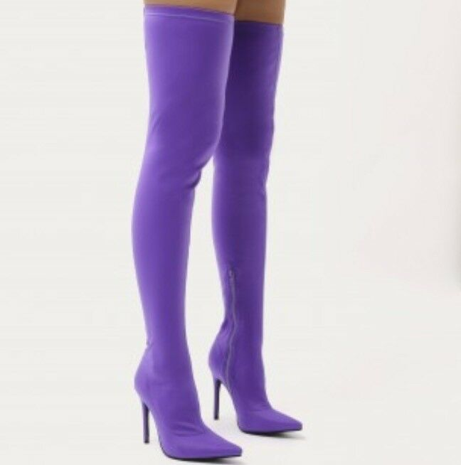 Purple pointed toe over the knee boot
