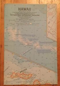 Vintage 1960 National Geographic Map of Hawaii
