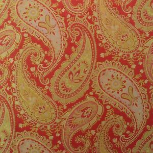 P Kaufmann Painterly Paisley Poppy Red Gold Jacquard Upholstery