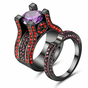 Lady-s-Men-s-Black-gold-Filled-Couple-Rings-Set-Multi-Color-CZ-Amethyst-Size-8