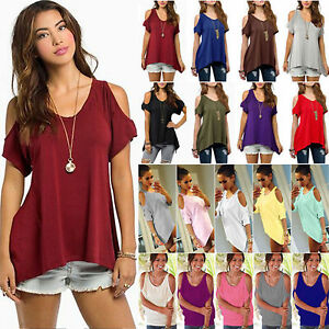 e3a46cf3f90f Image is loading Women-Loose-Short-Sleeve-Cotton-Casual-Blouse-Shirt-