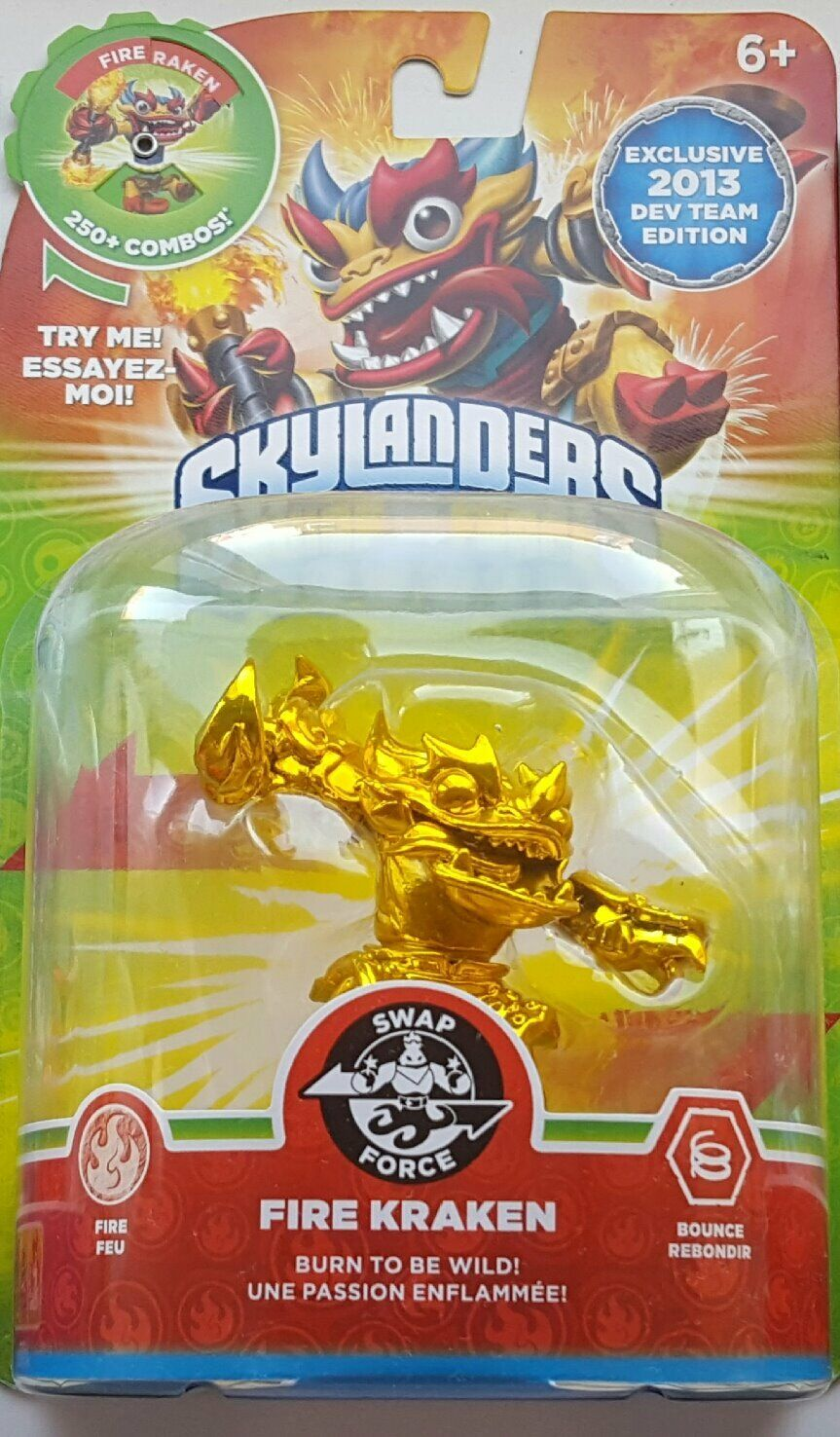 Skylanders Swap Force golden Fire Kraken Exclusive 2013 Dev Team - Rare