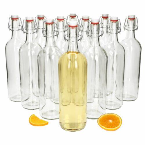 12tlg Bügelflaschen Set Berta 1 L mit Drahtbügelverschluss