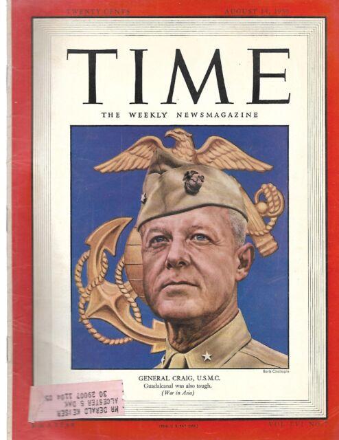 Time Magazine General Craig, U.S.M.C. August 14 1950