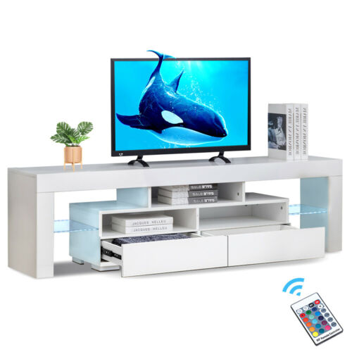 63/'/' Modern TV Cabinet Stand High Gloss Entertainment Unit Console w// LED Light