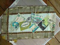 Talbots W/tag $59 100% Silk Postcard Print 17 Wide 66  Long Scarf