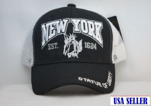 NWT New York Statue of Liberty Baseball Style Truckers Cap with Mesh Embroidered