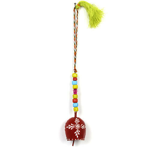 Beautiful Indian Ironwork Henna Red Bulb Bell Chime and Colourful Glass Beads
