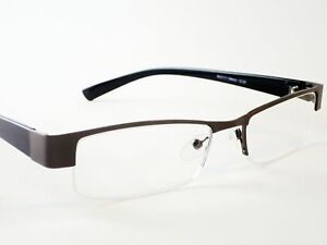 Mens-DESIGNER-READING-GLASSES-Gun-Metal-Semi-Rimless-1-25-1-5-2-0-2-5-3-0-3-5