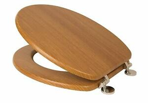 Croydex-Frazer-Wooden-Toilet-Seat-Oak-Effect-With-Chrome-Fittings