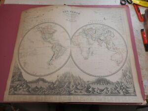 100-ORIGINAL-LARGE-WORLD-HEMISPHERES-MAP-BY-JOHNSTON-NATIONAL-ATLAS-C1857-VGC