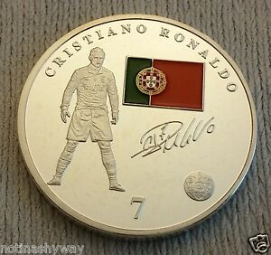 Christiano-Ronaldo-Real-Madrid-Badge-Silver-Coin-Portugal-Juventus-Old-Lady-USA