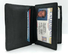 Black Genuine Leather Men's Bifold Wallet Center Flap Card Holder