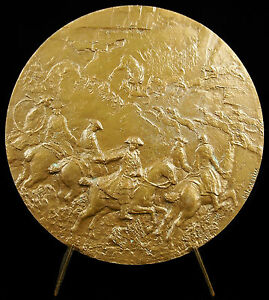 Medal-Jean-Baptiste-Oudry-le-Stag-Deer-amp-the-Dogs-Rocks-of-Franchard-Louis-XV