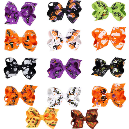 Halloween Kids toddler Baby Girls Color bow hair accessories hair clips hairpins