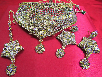 Indian All UK Occasion Wear Bollywood Costume Statement Earrings Necklace Set 12