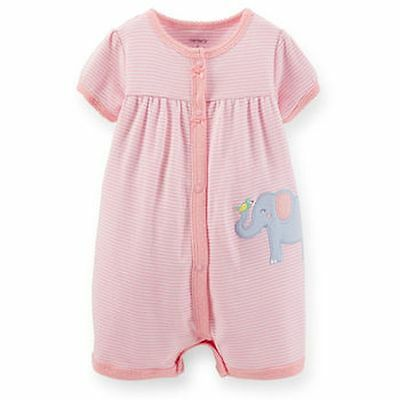 New Carter's Elephant & Bird Applique Summer Romper Outfit NWT 6 9m 12m 18m 24m