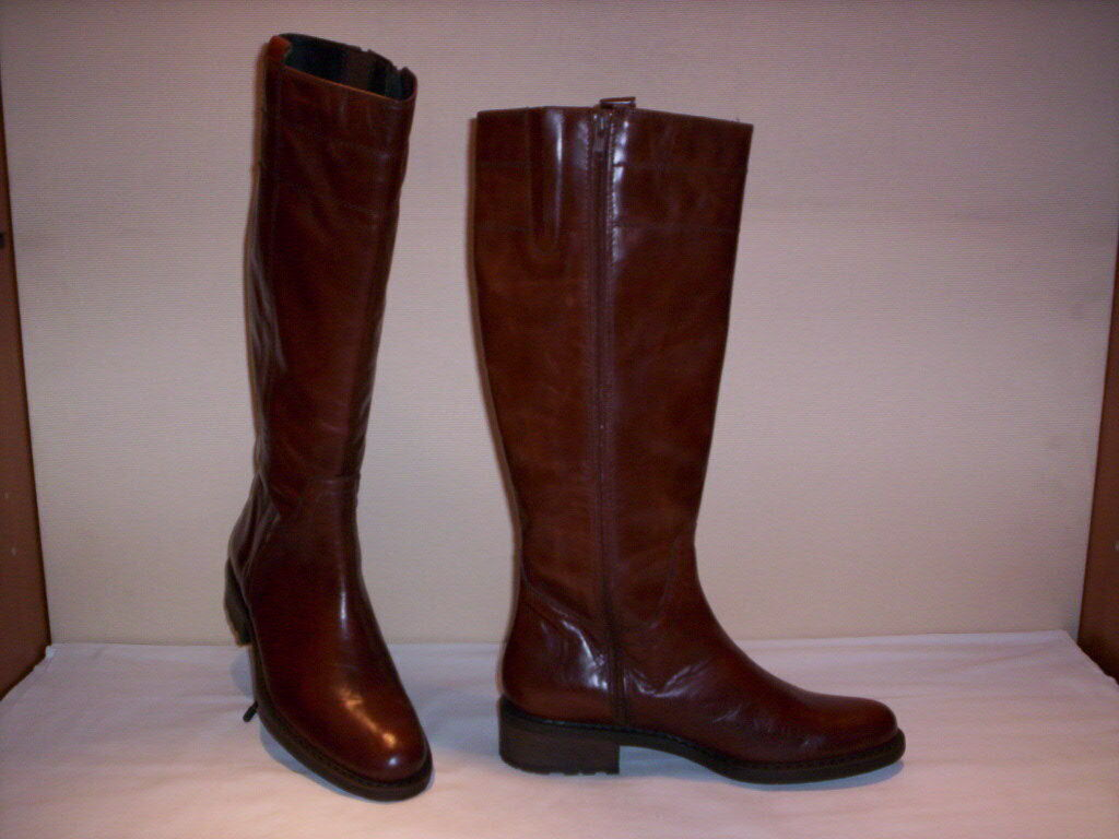 Boots riding Cyrillus woman high knee length leather brown zip 36 39 40 41