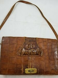 Vintage-Crocodile-Alligator-Leather-Crossbody-Clutch-Handbag-Purse-Bag-Hornback