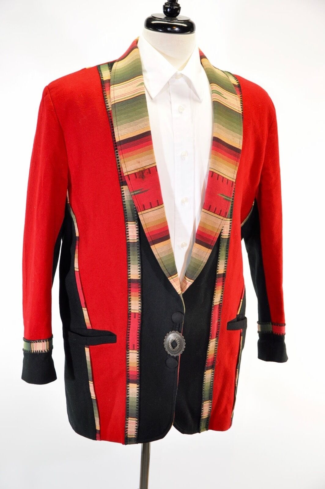 Vintage coloratura Southwest Coat Native American Red 100% Wool Size M