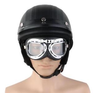 Casque-Moto-Modulable-Bol-Vintage-Protection-Visiere-Lunette-Amovible-Noir