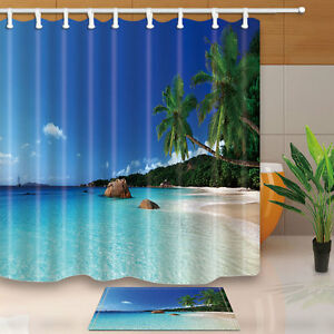 Image Is Loading Coconut Tree Blue Sky And Ocean Beach Curtain