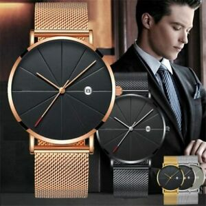 Ultraduenn-Herren-Uhr-Modisch-Wasserdicht-Automatik-Mechanisch-Quarz-Uhr-DE