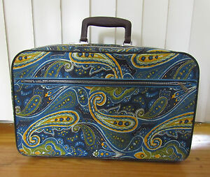 VTG-Childs-Small-Suitcase-Blue-Green-Yellow-Paisley-Print-18x10x4
