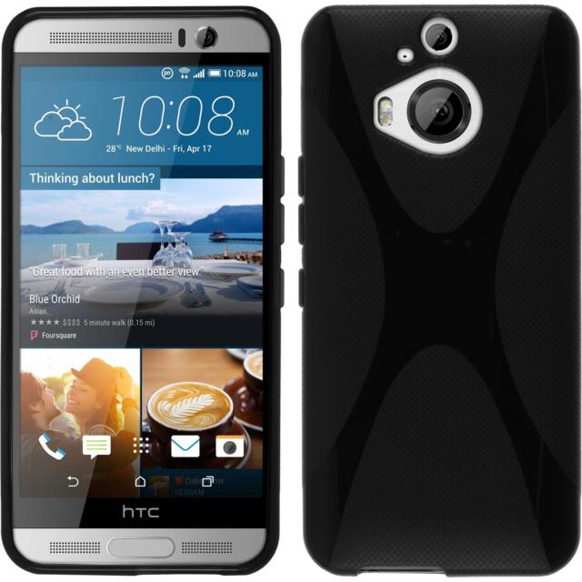 Silicone Case for HTC One M9 Plus X-Style black + protective foils