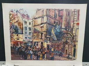 Watercolor-034-Festival-In-The-Square-034-Howard-Silverman-American-22x28-034-Vintage-Art