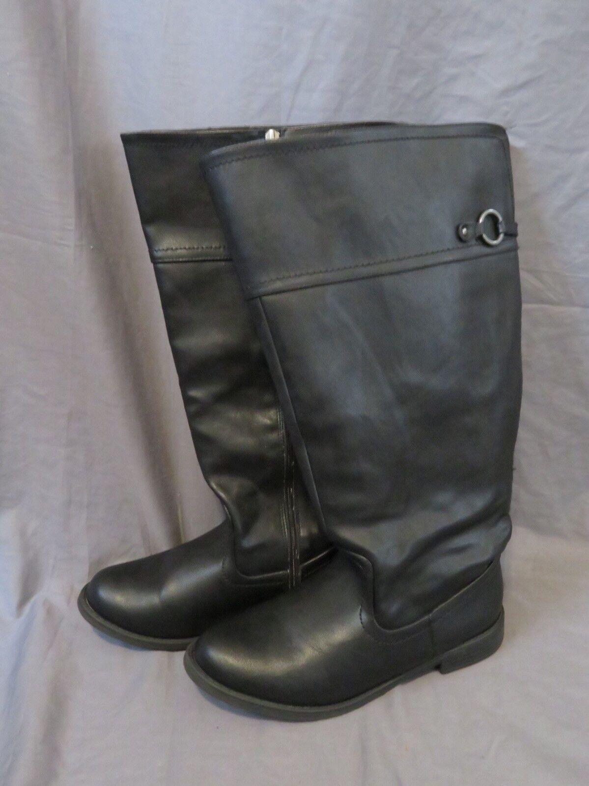 Wohombres Lane Bryant Negro Imitación Cuero Cremallera mitad de la pantorrilla botas W 9 de ancho