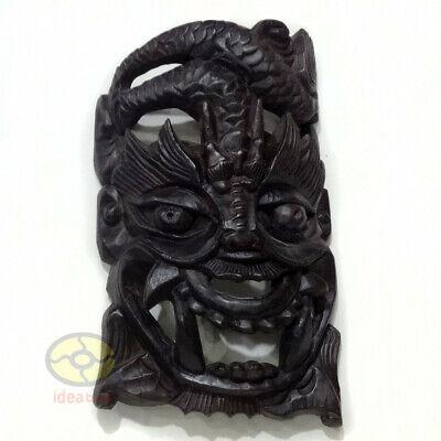 China Folk Art Wood Hand Carved Nuo Mask Walldecor Art Dragon King Deity 18 Tall Ebay