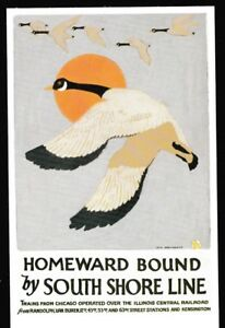 South-Shore-Line-Homeward-Bound-poster-postcard-railroad-train-CSS-amp-SB-geese