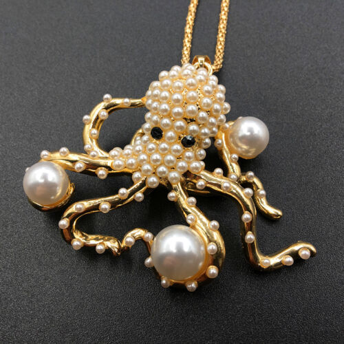 Fashion Jewelry Rhinestone Pearl Lovely Octopus Animal Pendant Chain Necklace