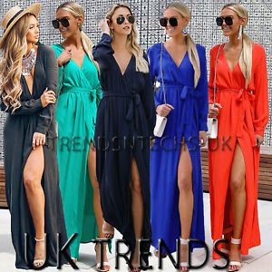 UK-Womens-Summer-Holiday-High-Split-Belted-V-Neck-Ladies-Maxi-Wrap-Dress-6-14