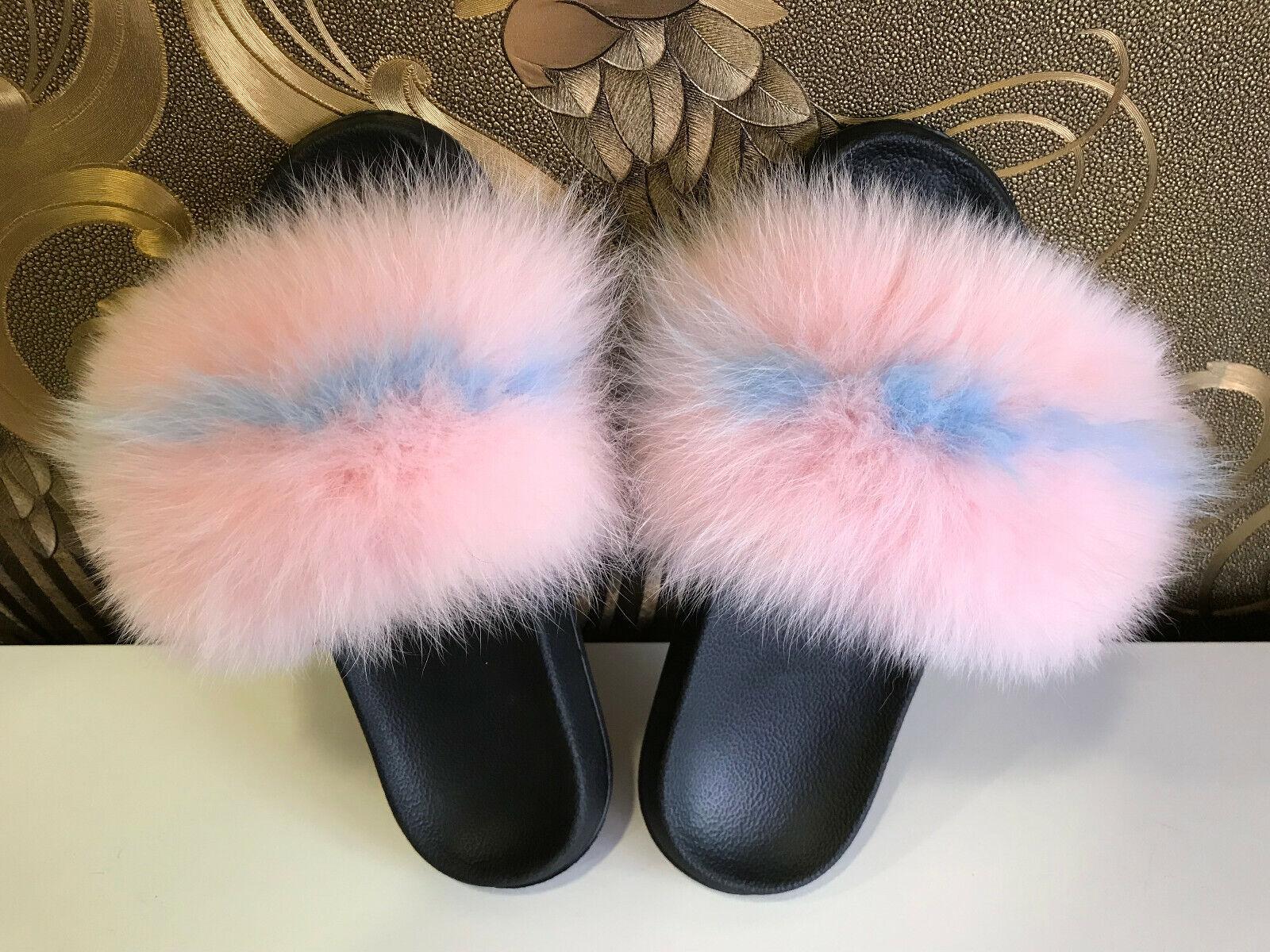 Pelage Sandales fourrure Tongs Fourrure Pantoufles Chaussons Fourrure Chaussures Avec FUCHS