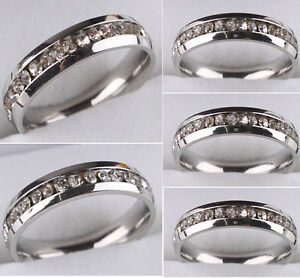 10-X-Silver-Women-Ladies-Zircon-Stainless-Steel-CZ-Rings-Fashion-Wedding-Rings