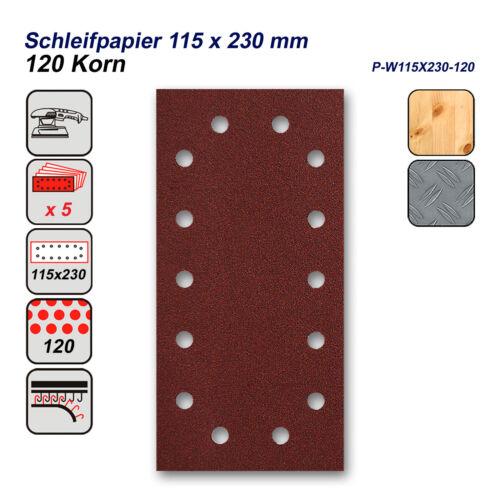 DWT 5 x papier abrasif pour ponceuse orbitale 115 x 230 mm pour bois et métal