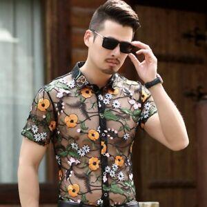 Mens Velvet Shirt Hollow Out Floral Transparent Basic Shirt Button Business Tops
